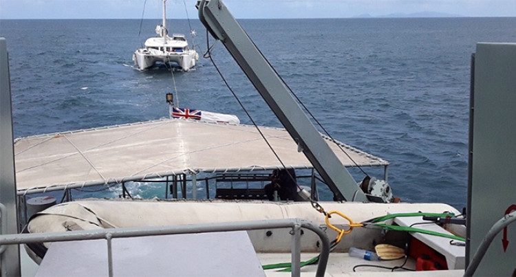 Fiji Navy Team Tow Troubled Catamaran To Suva Harbour