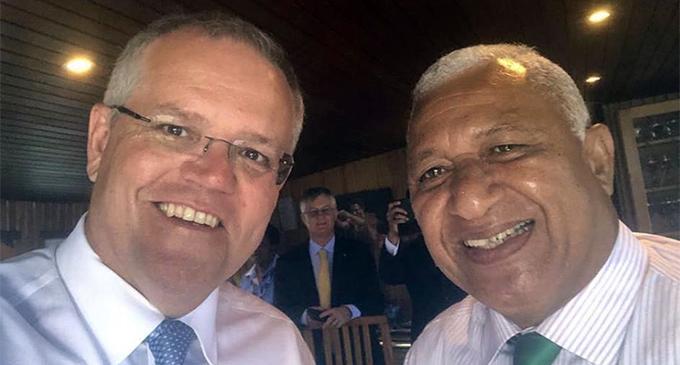 Prime Minister Voreqe Bainimarama and his Australian counterpart Scott Morrisson during his recent visit to Fiji.