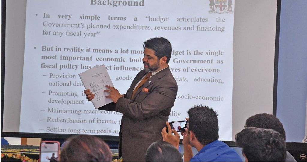 Attorney-General and Minister for Economy Aiyaz Sayed-Khaiyum makes a point while addressing journalists at a workshop in Suva on May 28, 2019. Photo: Ronald Kumar