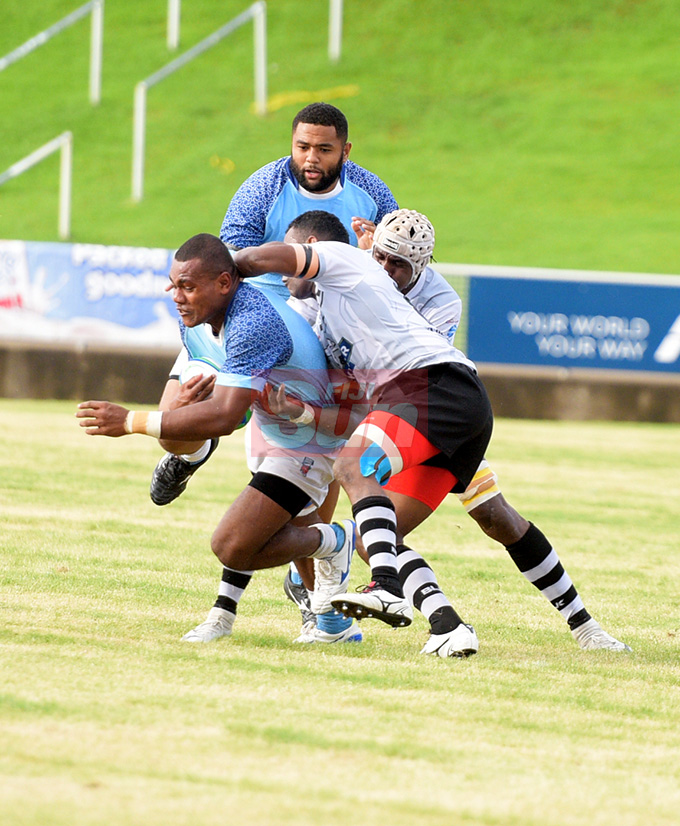 Suva's Usamaki Titoko held possession against Nadroga during Skipper Cup Championship at ANZ Stadium on May 4, 2019. Photo: Ronald Kumar.