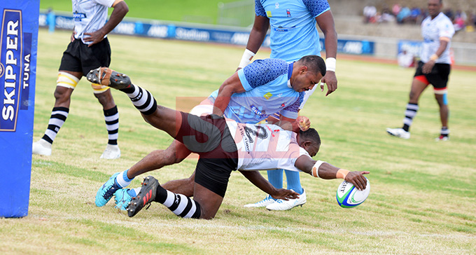 Suva's Vice captain John Stewart held Nadroga hooker Jonetani Kunavula right on try line during Skipper Cup Championship at ANZ Stadium on May 4, 2019. Photo: Ronald Kumar.