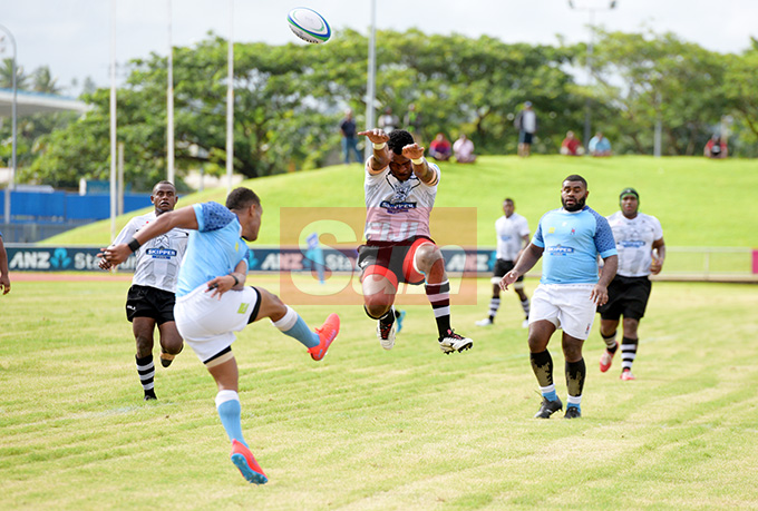 Suva's Anar Saurara clears the ball aginst Nadroda during Skipper Cup Championship at ANZ Stadium on May 4, 2019. Photo: Ronald Kumar.