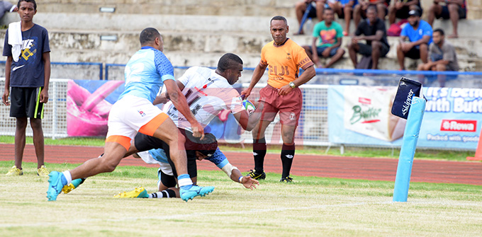 Nadroga's right wing, Nacanieli Narekuva dives in for their frist try against Suva during Skipper Cup Championship at ANZ Stadium on May 4, 2019. Photo: Ronald Kumar.