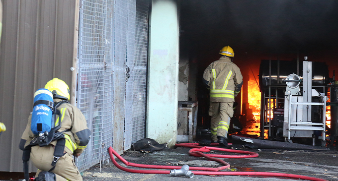 Fire fighters putting out the fire from the boiler room at the CWM Hospital on May 26, 2019. Simione Haravanua