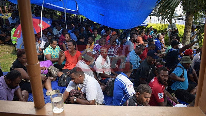 Contracted workers, who had their employment terminated as of 30th April with Water Authority of Fiji at Fiji Trade Union Congress office on May 1, 2019. Photo: Ronald Kumar.