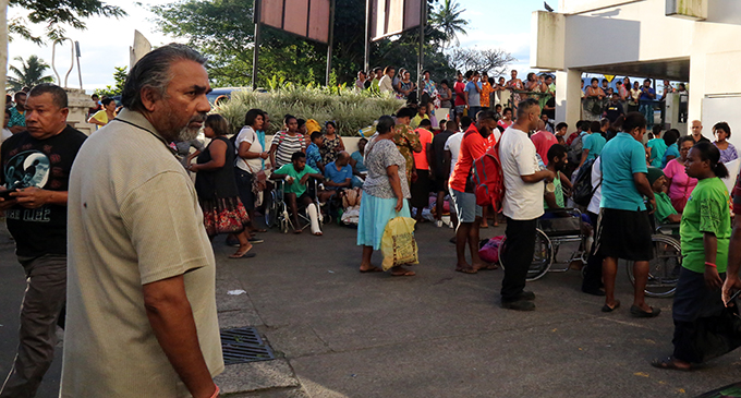 Family members and patients waiting to be evacuated by police and authorities at the CWM hospital in Suva on May 26,2019.Photo:Simione Haravanua.