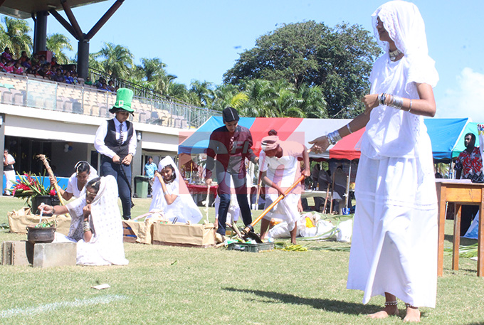 Current and former students of Visama Sanatan School from Nausori performing a skeet about the Girimitians during the Fiji Girmit 140th Anniversary celebrations at Albert park Suva on May,11,2019.Photo:Simione Haravanua.