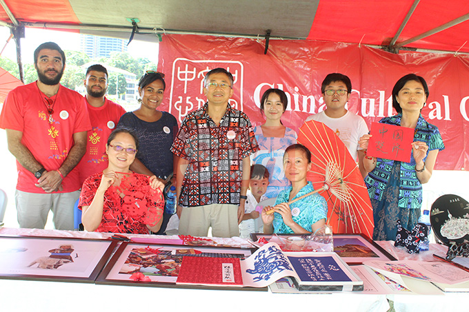The Chinese Cultural Centre booth during the Fiji Girmit 140th Anniversary celebrations at Albert park Suva on May,11,2019.Photo:Simione Haravanua.