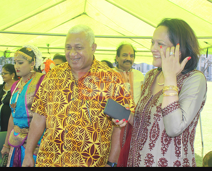Prime Minister Voreqe Bainimarama shares a light moment with the Minister for Education,Arts and Heritage during the Fiji Girmit 140th Anniversary celebration at Albert park Suva on May 11,2019.Photo:Simione Haravanua.
