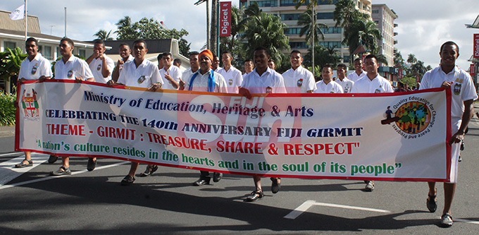 Students from Marist Brothers High School during the Fiji Girmit 140th Anniversary celebrations march  on May,11,2019.Photo:Simione Haravanua.