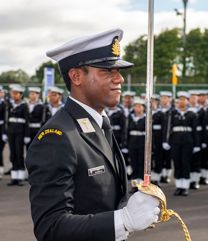 RFMF Naval Division Midshipman Peni Koroitubuna was the parade commander for the passing-out and was awarded the Captain Welles trophy during the combined Graduation Parade at the Royal New Zealand Navy at Devonport Naval Base, New Zealand on June 15, 2019.  Photo: Royal New Zealand Navy