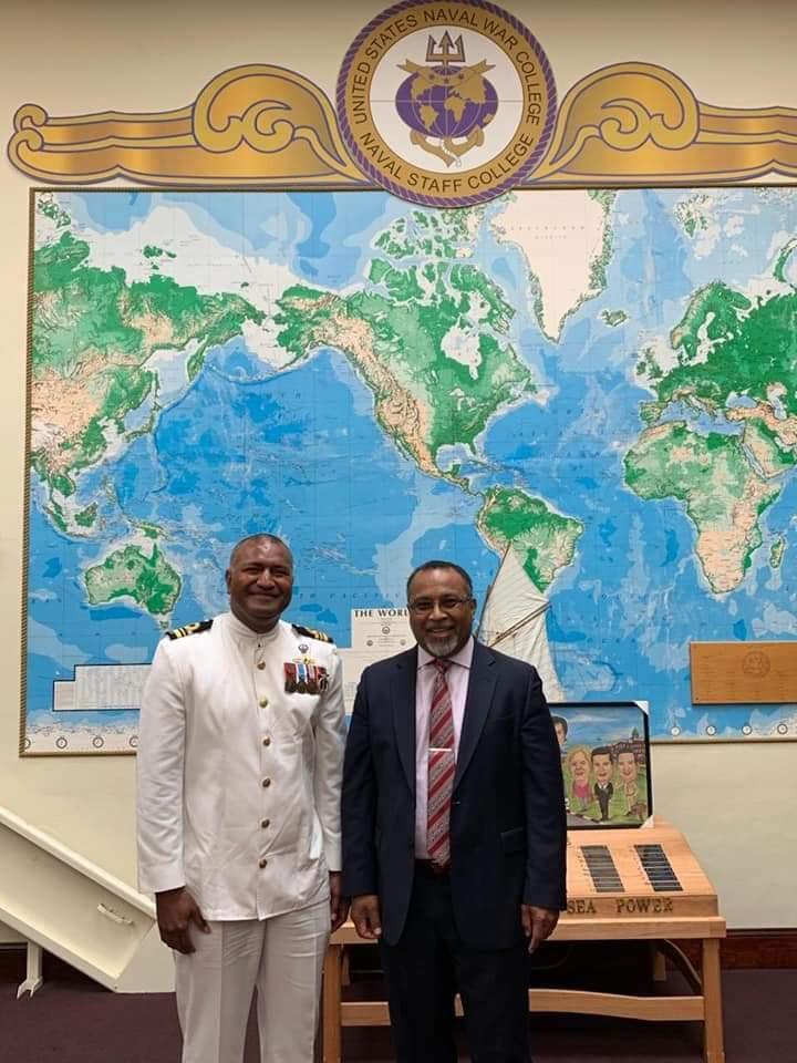 L-R: Lieutenant Commander Isoa Tokalauvere with Fiji's Ambassador to the United States of America, Solo Mara.