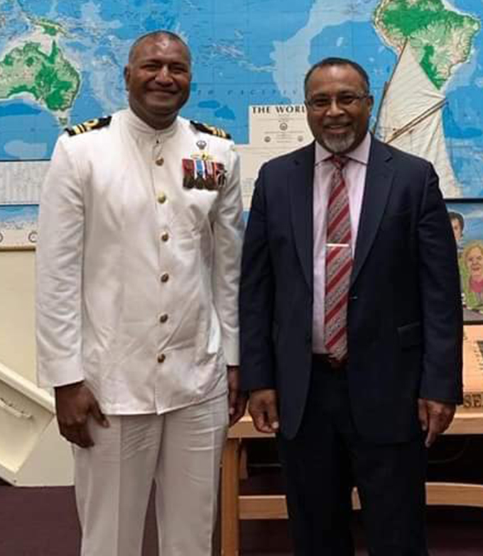 From left: Lieutenant Commander Isoa Tokalauvere with Fiji's Ambassador to the US Solo Mara.  Photo: Solo Mara