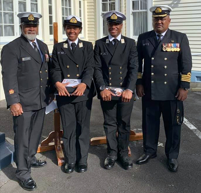 Commander Fiji Navy, Captain Humphrey Tawake (right) and Master at Arms Warrant Officer Class One Sitiveni Jitoko (left) were in Auckland BRAVO Zulu to both officers graduation.