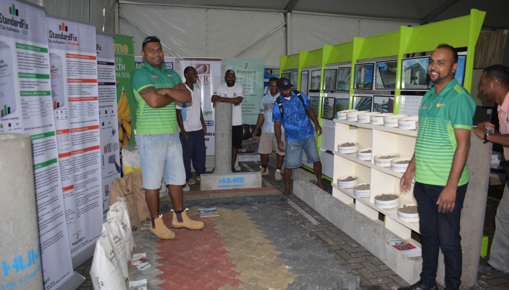 Humes staff with their display of products during Construction Industry Council 2nd trade show at Grand Pacific Hotel in Suva on June 13, 2019. Photo: Ronal Kumar.