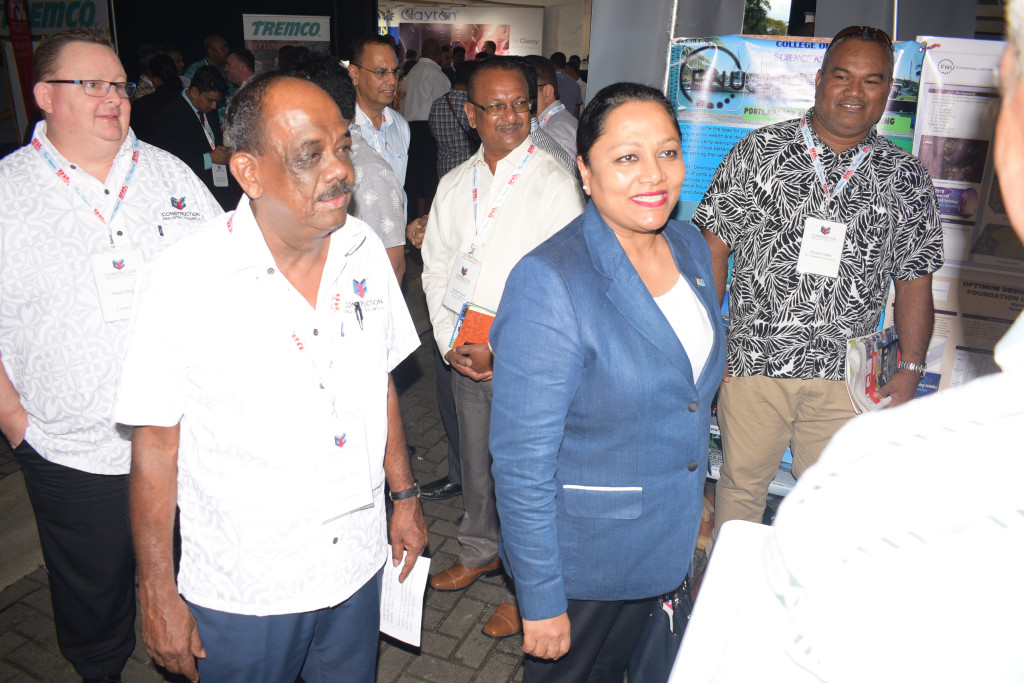 Construction Industry Council members Shane Harris (left) and Chandar Bala with Minister for Industry, Trade and Tourism Premila Kumar during  2nd trade show at Grand Pacific Hotel in Suva on June 13, 2019. Photo: Ronal Kumar.
