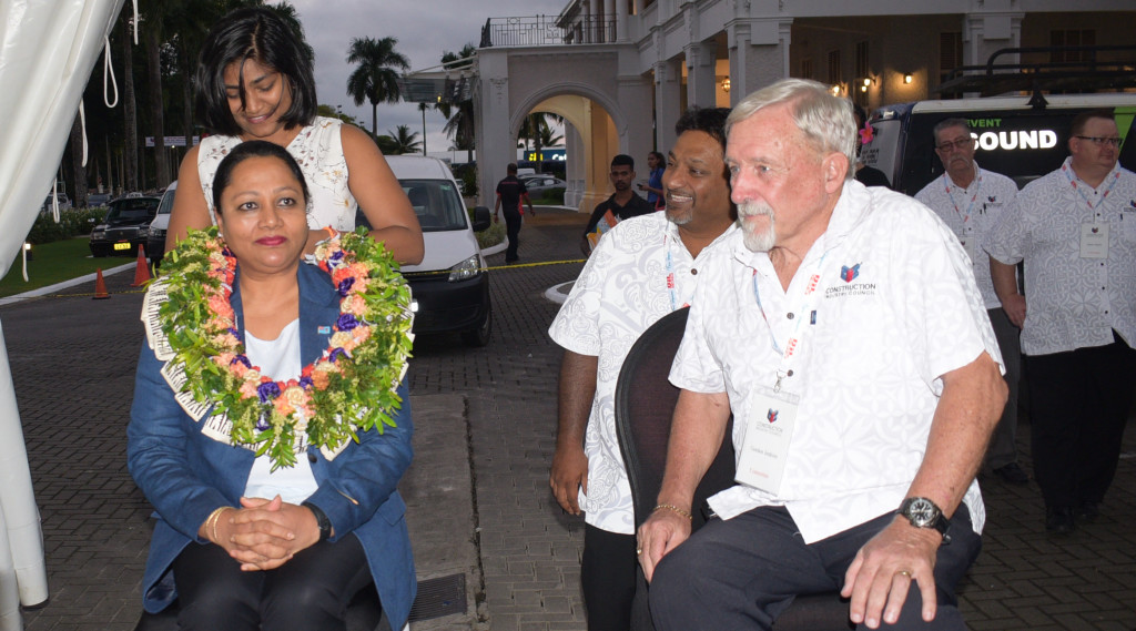 Minister for Industry, Trade and Tourism Premila Kumar (left) with Construction Industry Council members Vijay Naidu and President Construction Industry Council during  2nd trade show at Grand Pacific Hotel in Suva on June 13, 2019. Photo: Ronal Kumar.