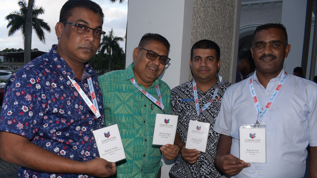 From left-Rajesh Naidu of Precision Pacific Construction Pte Ltd., Ritesh Singh of Poly Products (Fiji) Pte Ltd., Pranit Sushil of Poly Products Pte Ltd. and Rakesh Lal of RC Manubhai & Co Ltd. during Construction Industry Council 2nd trade show at Grand Pacific Hotel in Suva on June 13, 2019. Photo: Ronal Kumar.