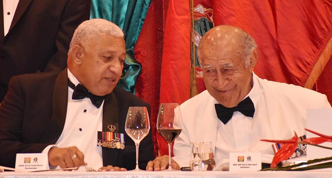 Prime Minister Voreqe Bainimarama with Speaker of Parliament Ratu Epeli Nailatikau during the Infantry Day formal dinner at the Grand Pacific Hotel.  Photo: RFMF Media Cell