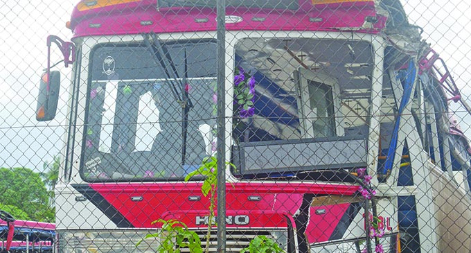 The Raiwaqa bus that was involved in the accident. Photo: Ronald Kumar