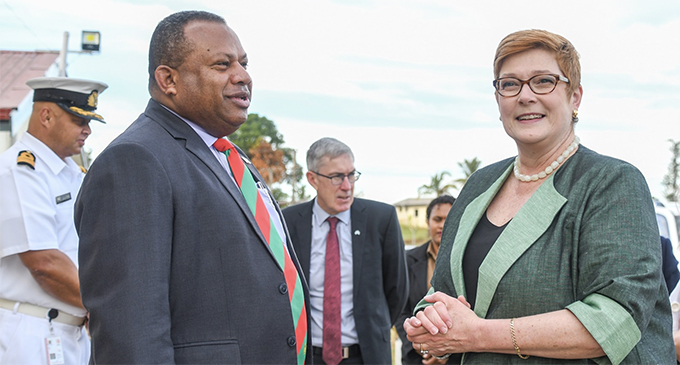 Australian Foreign Affairs Minister Marise Payne and Defence Minister Inia Seruiratu at Black Rock Camp in Nadi. Photo: DEPTFO
