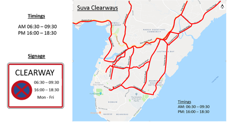Clearways To be Introduced Across Suva From 8th July 2019