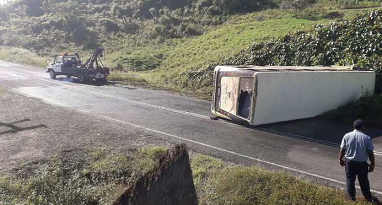 Bus Tumble Lands 16 In Hospital