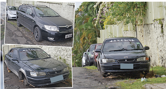 The vehicle that was left abandoned along Pender Street in Suva on June 25, 2019, by a suspect who is alleged to have removed parts from another vehicle parked a few metres behind. TOP LEFT INSET: It is alleged that the suspect was attempting to steal parts from the black Fielder (HS 008) parked along Pender St when he was spotted by the owner. The suspect, knowing that he was spotted, walked away leaving behind his car, witnesses said. That car has lost some parts as well since being abandoned