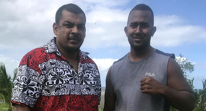 From left: Promoter Freddy Chand and heavyweight boxer James Singh in Suva on June 18, 2019.  Photo: Grace Narayan