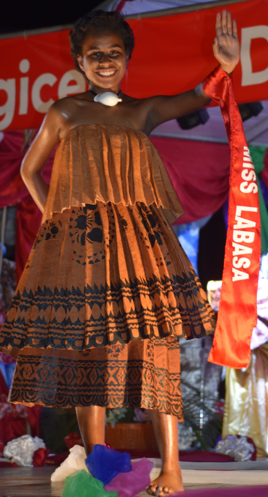 Miss Labasa Salote Drauna vying for Miss Digicel Duavata Northern Crime Prevention Carnival at Subrail Park in Labasa dressed for Bula night on July 2,2019. Photo:Shratika Naidu