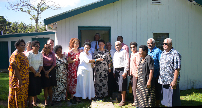 Mere Samisoni (middle) hands over the keys for the renovated teacher's quarters to Ballantine Memorial  School Principal Miriama Naicegucegu and the school management on July 17, 2019. Photo: Ronald Kumar