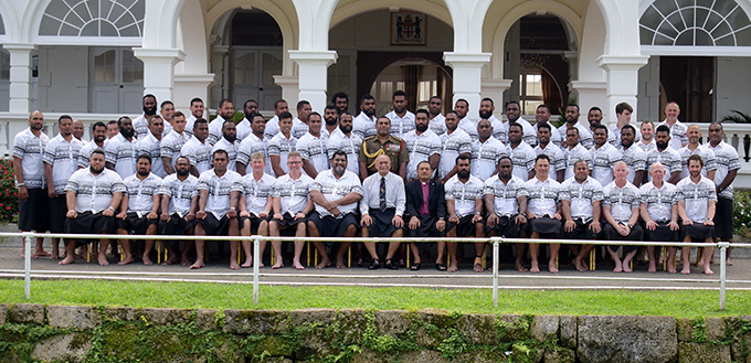 Fiji Airways Flying Fijians players and officials with the President Major General (Ret'd) Jioji Konrote at the State House, Suva on July 11, 2019.  Photo: Ronald Kumar