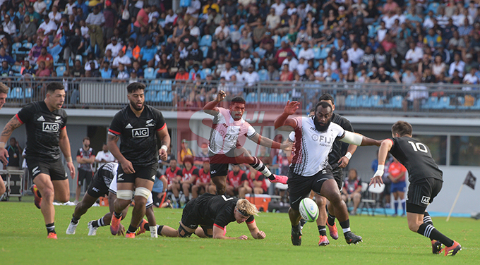 Peni Ravai of Fiji Airways Flying Fijian clears the ball  against Maori All Blacks during test match at ANZ Stadium on July 13, 2019.Photo: Ronald Kumar.