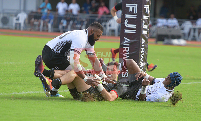 Maori All Blacks outside-back, Shaun Stevenson stops Waisea Nayacalevu and Alivereti Veitokani of Fiji Airways Flying Fijian cfrom scoring a try during 2019 test series match at ANZ Stadium on July 13, 2019.Photo: Ronald Kumar.