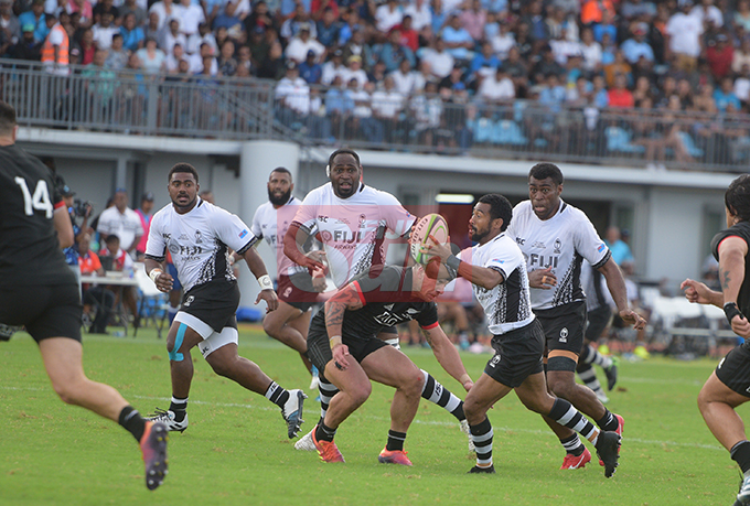 Henry Seniloli Fiji Airways Flying Fijian on attack against Maori All Blacks test match on July 13, 2019.Photo: Ronald Kumar.