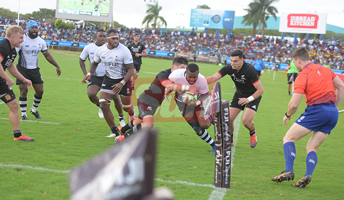Kini Murimuriwalu of Fiji Airways Flying Fijian against Maori All Blacks defense during test match at ANZ Stadium on July 13, 2019.Photo: Ronald Kumar.