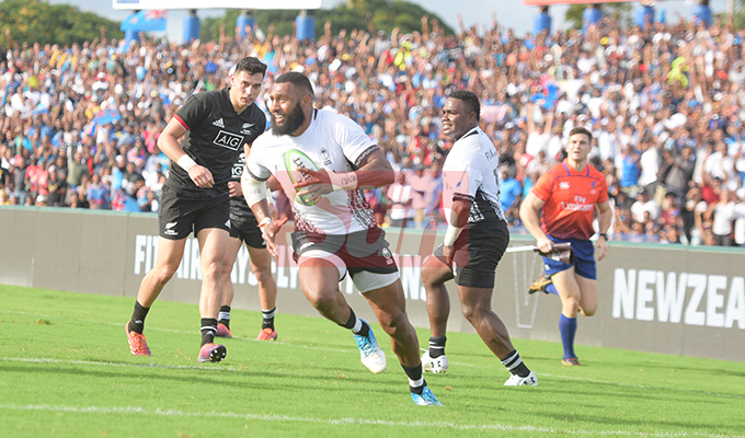 Waisea Nayacalevu of Fiji Airways Flying Fijian runs in for his first try against and Maori All Blacks test match on July 13, 2019.Photo: Ronald Kumar.