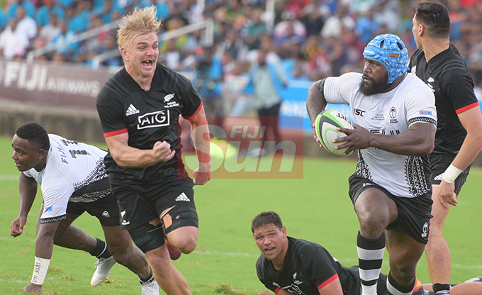 Lepani Botia of Fiji Airways Flying Fijian against Maori All Blacks defense during test match at ANZ Stadium on July 13, 2019.Photo: Ronald Kumar.