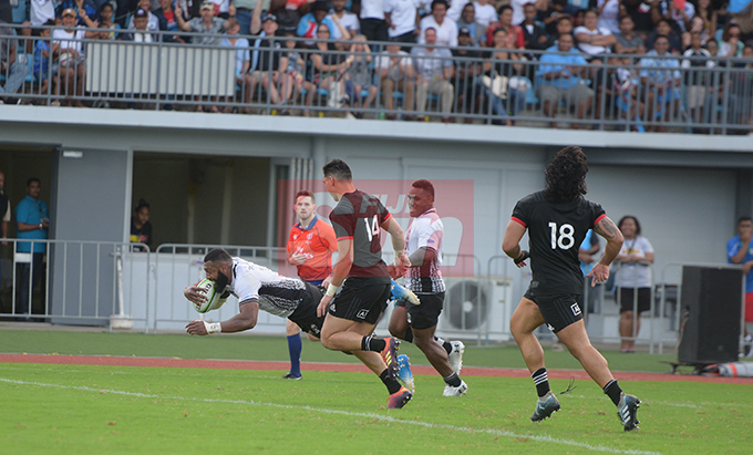 Waisea Nayacalevu dives in for his second and final Fiji Airways Flying Fijian try against and Maori All Blacks test match on July 13, 2019.Photo: Ronald Kumar.