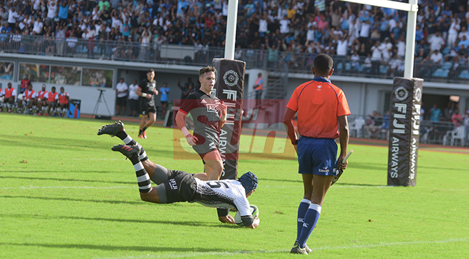 Alivereti Veitokani of Fiji Airways Flying Fijian dives in for their first try against Maori All Blacks during 2019 test series match at ANZ Stadium on July 13, 2019.Photo: Ronald Kumar.