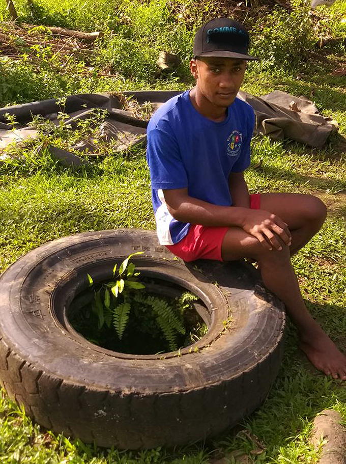 Apisai Ravuama at the well where the accident took place in Naikaiwaga, Tailevu on July 6, 2019. Photo: Neelam Prasad.
