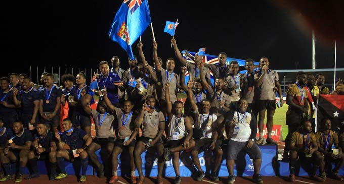 Team Fiji men's rugby league team on the medal podium during the medal presentation at Apia Park, Samoa on July 9, 2019. Photos: Anasilini Natoga
