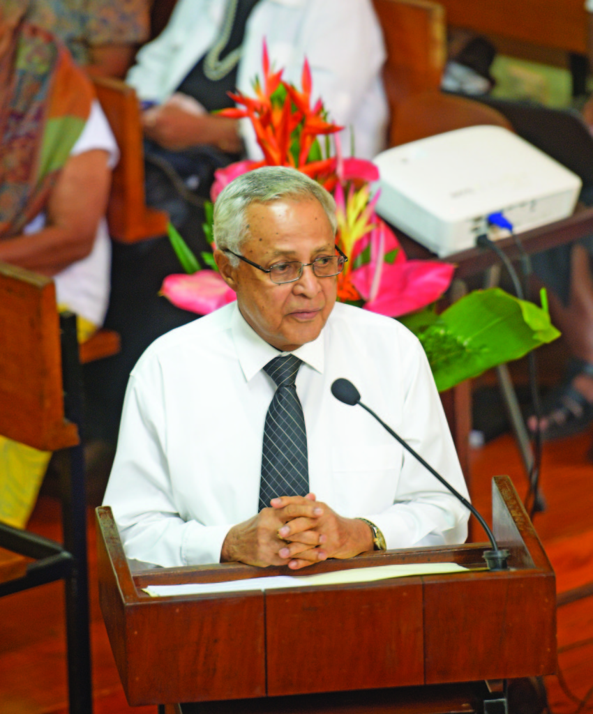Fiji Labour Party leader Mahendra Chaudhry while speaking at Party President Lavinia Padarath's funeral service at Wesley City Mission Church on July 18, 2019. Photo: Ronald Kumar
