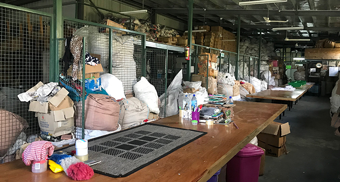 Chand's Clothing and sorting station at their new warhouse in Lovu, Lautoka. Photo: Charles Chambers