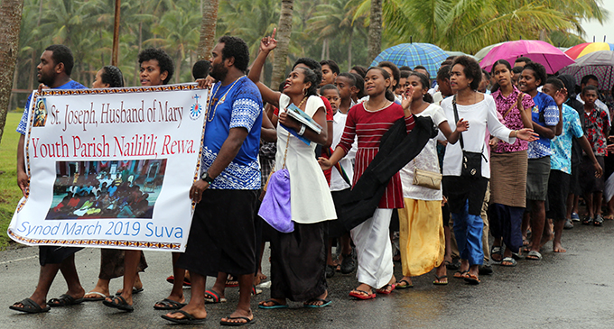 Members of the St.Joseph, Husband of Mary Youth Parish from Nailili Rewa marching to mark the Echaristic Celebration Synod Launch in Suva on June 30,2019.Photo:Simione Haravanua.