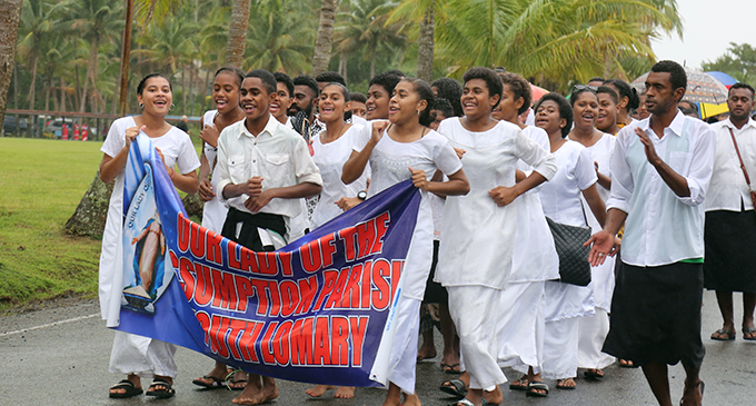 Members of Lady of Assumption Parish Youth from Lomary marching to mark the Echaristic Celebration Synod Launch in Suva on June 30,2019.Photo:Simione Haravanua.