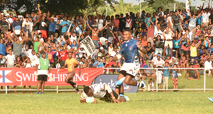 BLK Nadroga rep Amenoni Nasilasila scores one of the team's tries against Jack's Nadi at Prince Charles Park on July 6, 2019 Photo: Waisea Nasokia