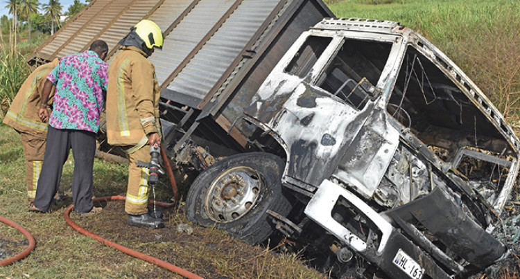 Truck Catches Fire While Carting Sugarcane