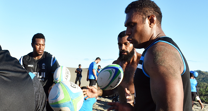 Fiji Airways Flying Fijians rep Leone Nakarawa during training at the Sand Dunes in Sigatoka yesterday. Photo: WAISEA NASOKIA