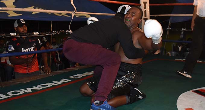 James Singh celebrate his win over Petero Qica at Prince Charles Park in Nadi on June 30, 2019. Photos: Waisea Nasokia